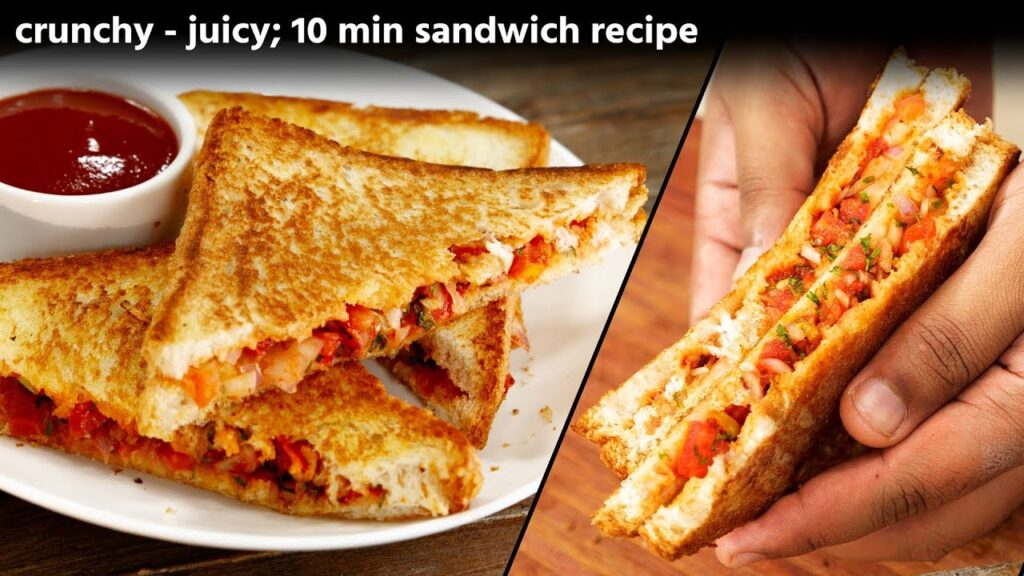 10 Min Sandwich – Crunchy Onion Tomato Toast , CookingShooking Recipe